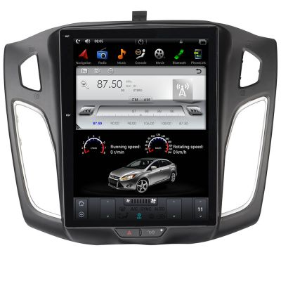 Belsee Tesla Style 10.4 Inch Touch IPS Screen Radio Android 9.0 Auto Head Unit Autoradio for Ford Focus 2012-2016 GPS Navigation Audio System Auto Stereo Hexa Core PX6 Ram 4GB Rom 32GB Wifi Bluetooth Apple CarPlay Multimedia Player