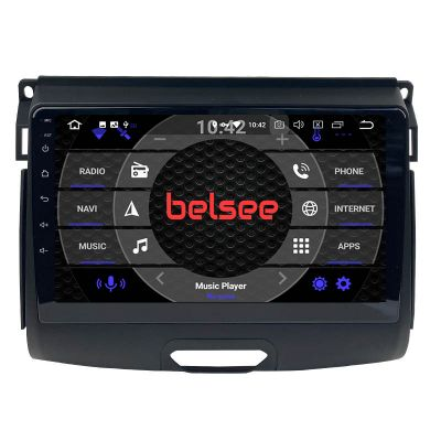 Belsee Best Aftermarket Android 10 Q Auto Head Unit Car Radio Replacement Stereo Upgrade for 2015-2020 Ford Ranger GPS Navigation System 9 inch IPS Touch Screen Multimedia Audio video Player Wireless Apple CarPlay PX6 Ram 4GB Bluetooth Wifi Sat Nav