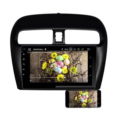 Belsee Best Aftermarket Android 9.0 Auto Head Unit Car Stereo Upgrade Radio Replacement for Mitsubishi Attrage Mirage 2012-2020 9 inch IPS Touch Screen DSP Apple CarPlay In Dash GPS Navigation System Audio Multimedia Player PX6 Ram 4GB Rom 64GB Display