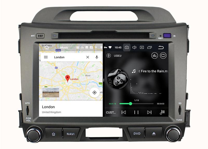 slpit screen on android 8.0 Kia Sportage 2010-2015