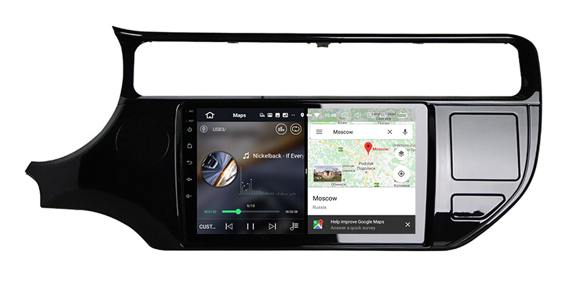 slpit screen on android Kia Rio 2015-2018