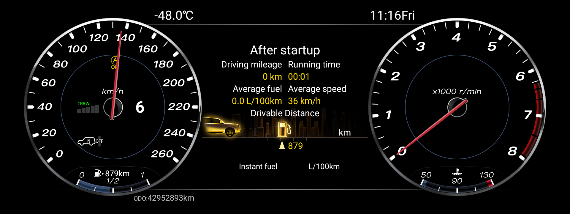 digital LCD dashboard for cars