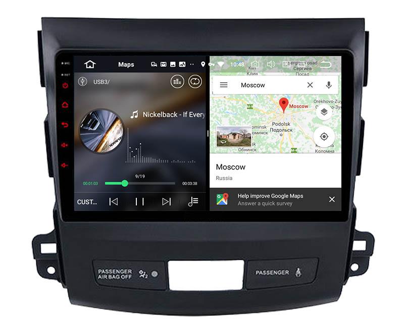 slpit screen on android Mitsubishi Outlander 2 Citroen C-Crosser Peugeot 4007 2005-2013