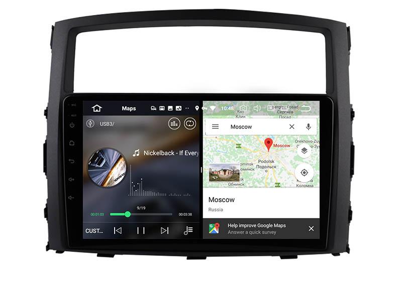 slpit screen on android Mitsubishi Pajero 4 V80 V90 2006-2014