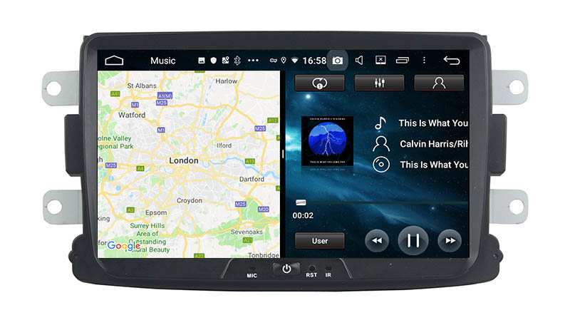 slpit screen on android Renault Dacia Sandero Duster