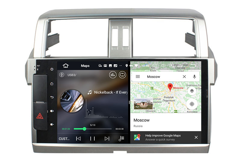 slpit screen on android Toyota Land Cruiser Prado 150 2013-2017