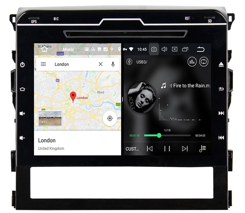 slpit screen on android 2015 2016 Toyota Land Cruiser LC200autoradio