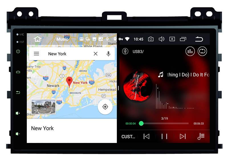 slpit screen on android Toyota Land Cruiser Prado 120 Lexus GX470 2002-2009 autoradio