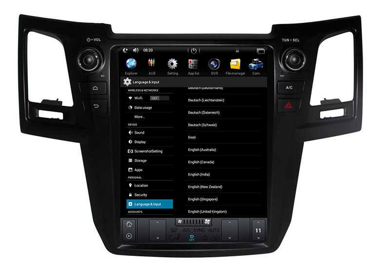 Toyota Fortuner 2004-2015 android languages