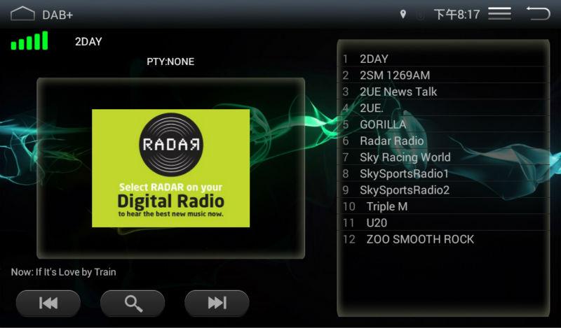 dab+ radio display on the screen